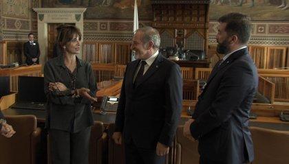 L'attrice Laura Morante al cospetto dei Capitani Reggenti