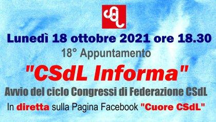 """Domani 18° appuntamento di """"CSdL Informa"""", sull'avvio del ciclo congressuale CSdL"""