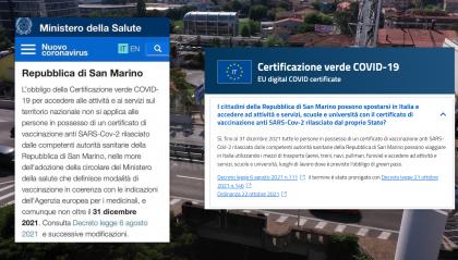 Green Pass: la deroga ai vaccinati sammarinesi sui siti ufficiali del Governo Italiano